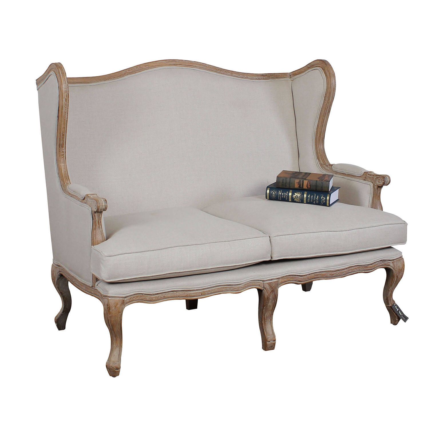 French country style solid oak wood two seat wing chair sofa