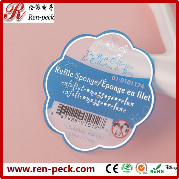 Hot sale beautiful shinng plastic silver tags with free sample