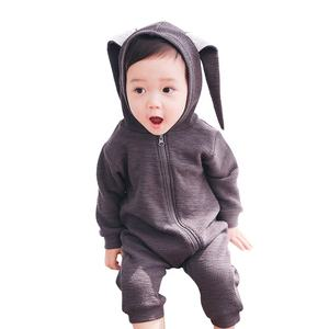 Wholesale long sleeve plain 0-3 years old blank zipper baby pajamas baby girl clothes romper 1661