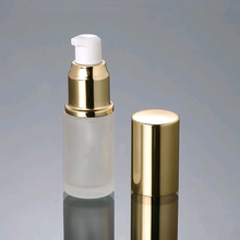 20ml cosmetic frosted glass lotion bottle with gold pump