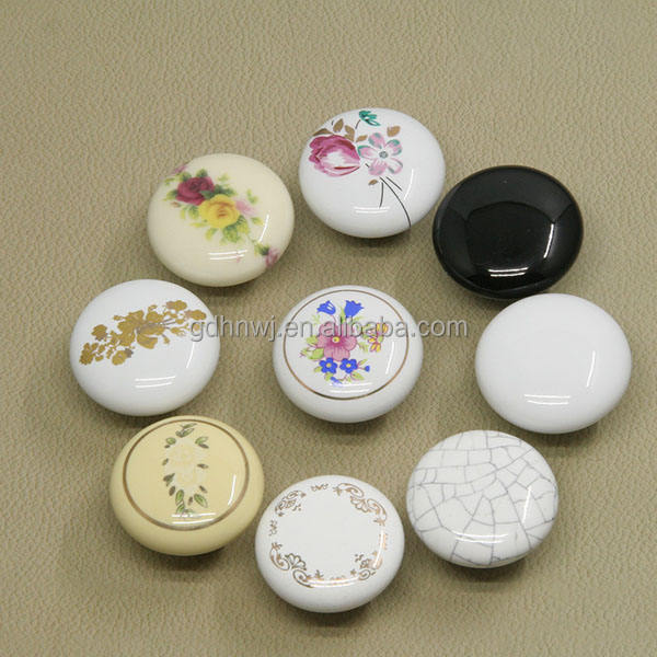 Made in China fashion design classical round ceramic furniture knob