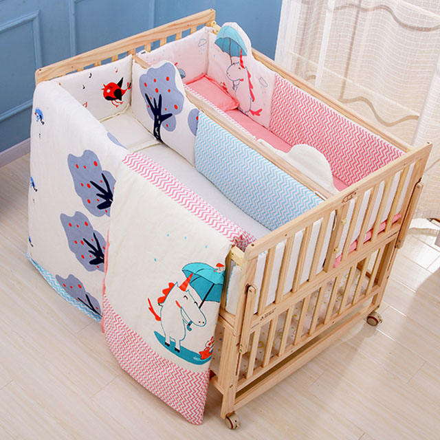 Twin Crib, Wood Double Bed Wood Crib Infant Twins Bed Non-toxic