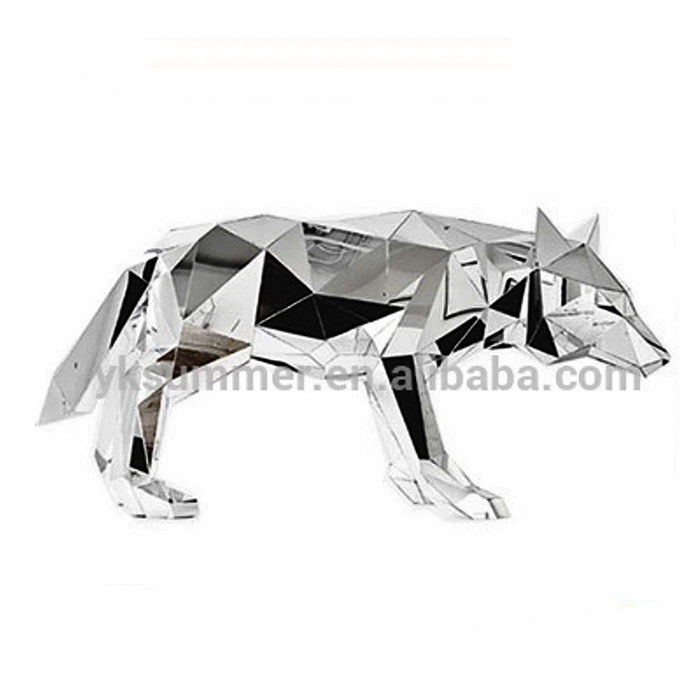 Folded faceted effect High Shine Polished Finish wolf animal sculpture