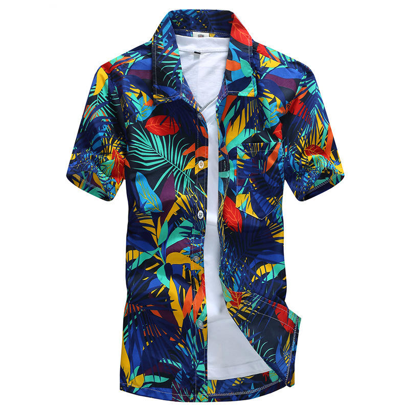 Men's Beach Shirt 3D Printed Short Sleeve Casual Shirt Button Down Graphic Hawaii Shirts