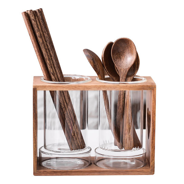 Convenient Glass Utensil wooden spoon knife chopsticks table cutlery holder