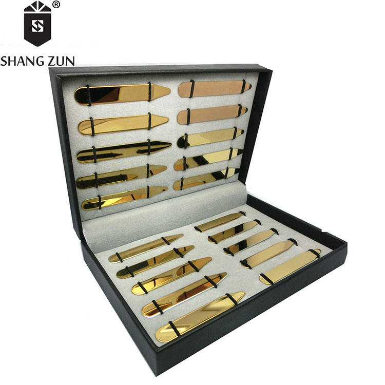 Silvery Shang Zun 8 Pcs Love Notes Stainless Steel Collar Stays in Gift Box