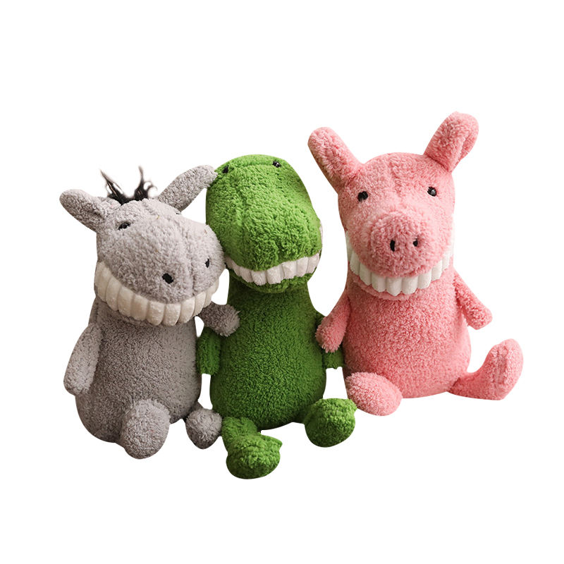 Hot Small plush animal toy cute and ugly smile big tooth doll bulk plush toy gift