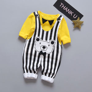 New release bear design baby boy overall clothe set with bow tie