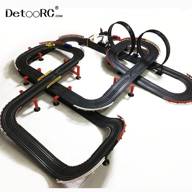 Detoo 1420cm kids fast speed ho slot race DIY rc toys track electric toy car slot car 1:43 racing tracks