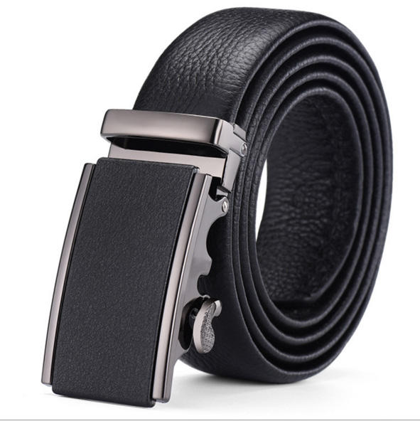 Custom luxury top grain genuine leather brand men leather automatic buckle belt