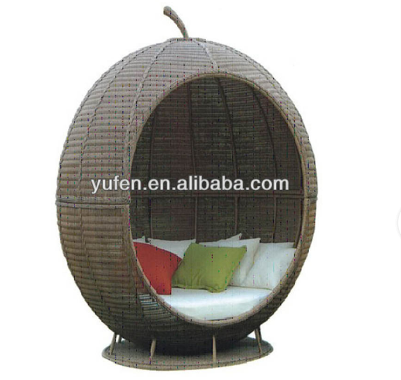 Garden furniture rattan pear shape daybed with cushion