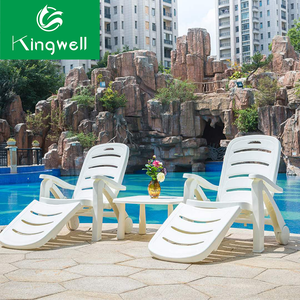 Outdoor foldable white plastic pool lounge chairs beach lounge chair