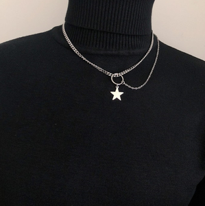 Western fashion hipster five pointed star choker necklace for women