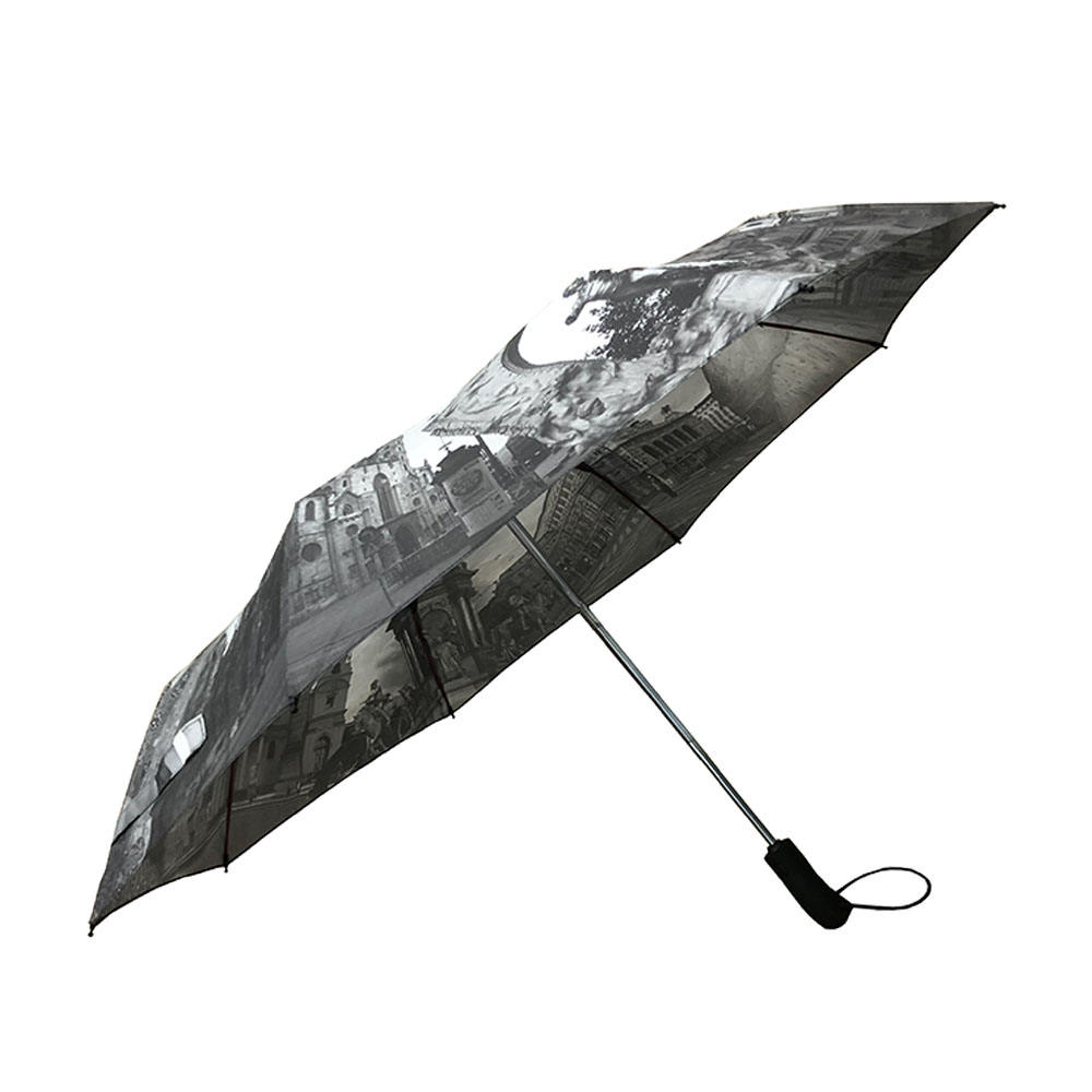 High quality custom logo windproof automatic 3 fold rain storm umbrella with dot print