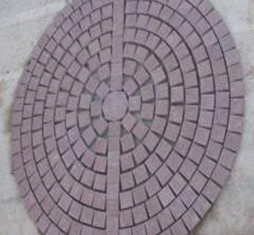 outdoor red round paving stone