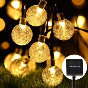 Outdoor Solar Lights Strings 20ft 30 LED Waterproof Fairy Bubble Crystal Ball Light Decorative Globe string Lights