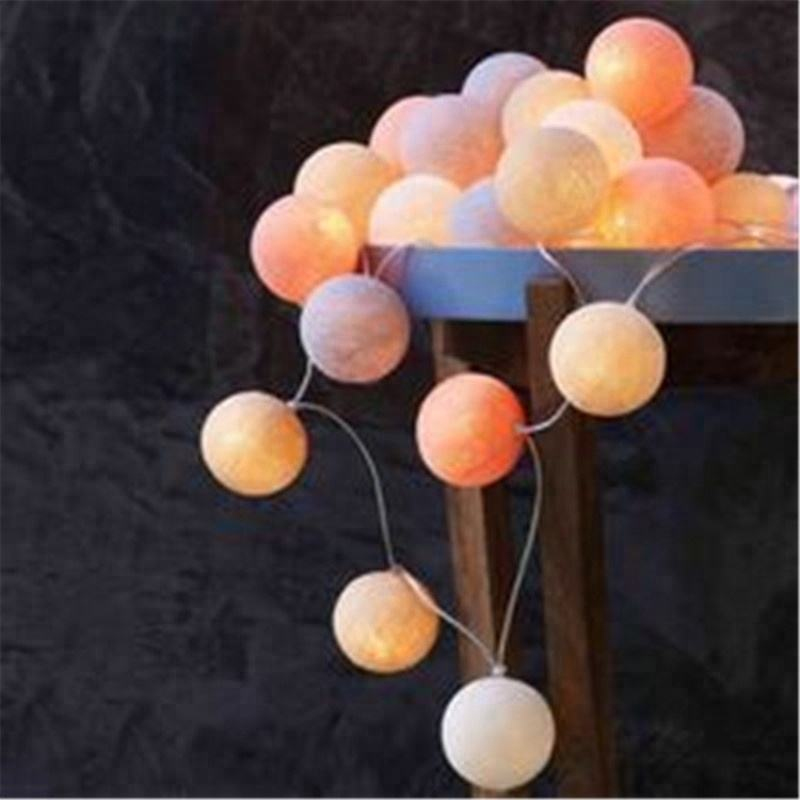 Wholesales Fully Waterproof LED Christmas Rattan cotton ball Custom led string lights cotton ball lights