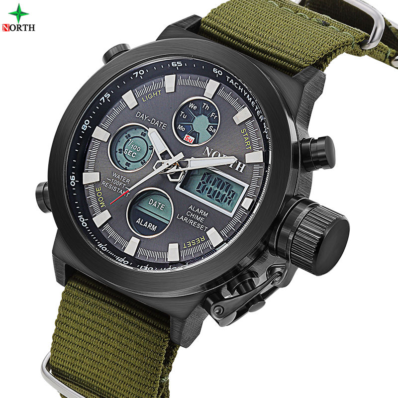 NORTH 6022 Nylon Strap Perfect Japan Movement Charm Men's LED Digital Analog Military watch