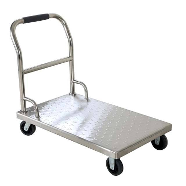 flat hand psuh trolley folded shopping cart for warehouse goods movingWarehouse high quality tool hand push flat cart transport