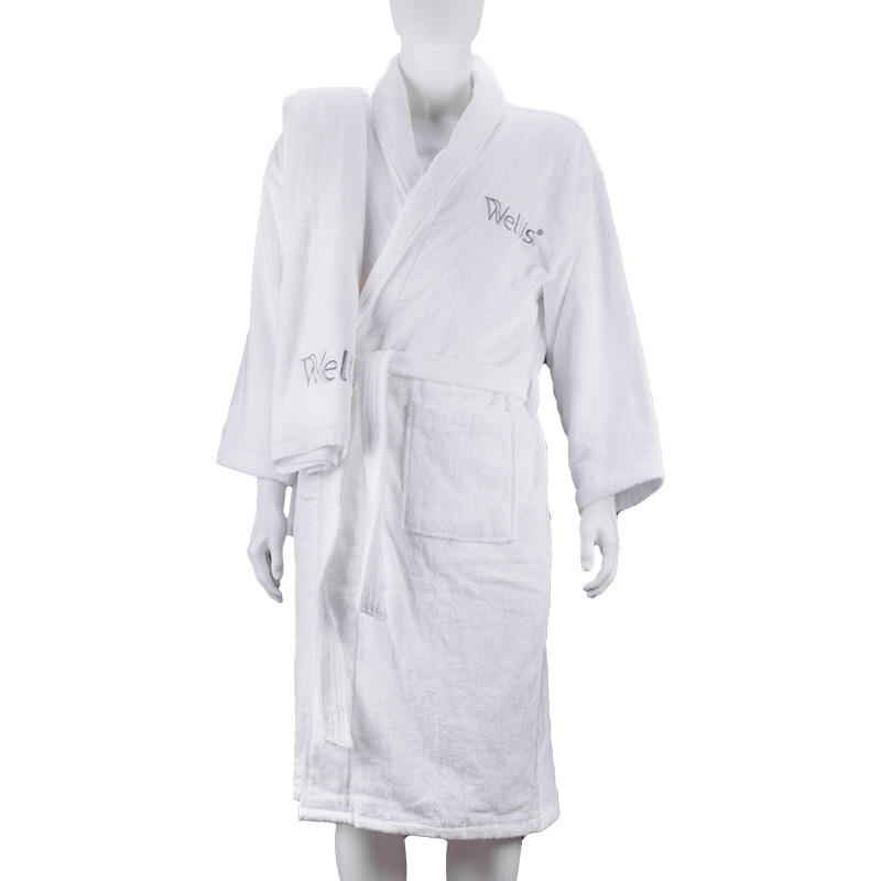 100% Cotton Soft Terry White Luxury 5 Star Hotel Bathrobe