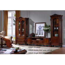 K6927 antique 2M living room brown solid wood TV unit TV stand display decorated floor cabinet American villa furniture