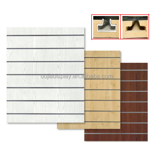 15Mm 18Mm <span class=keywords><strong>Aluminium</strong></span> Kledingstuk Sieraden <span class=keywords><strong>Slatwall</strong></span> Stand Rack Panel Display Gratis Verf Melamine Board Panel