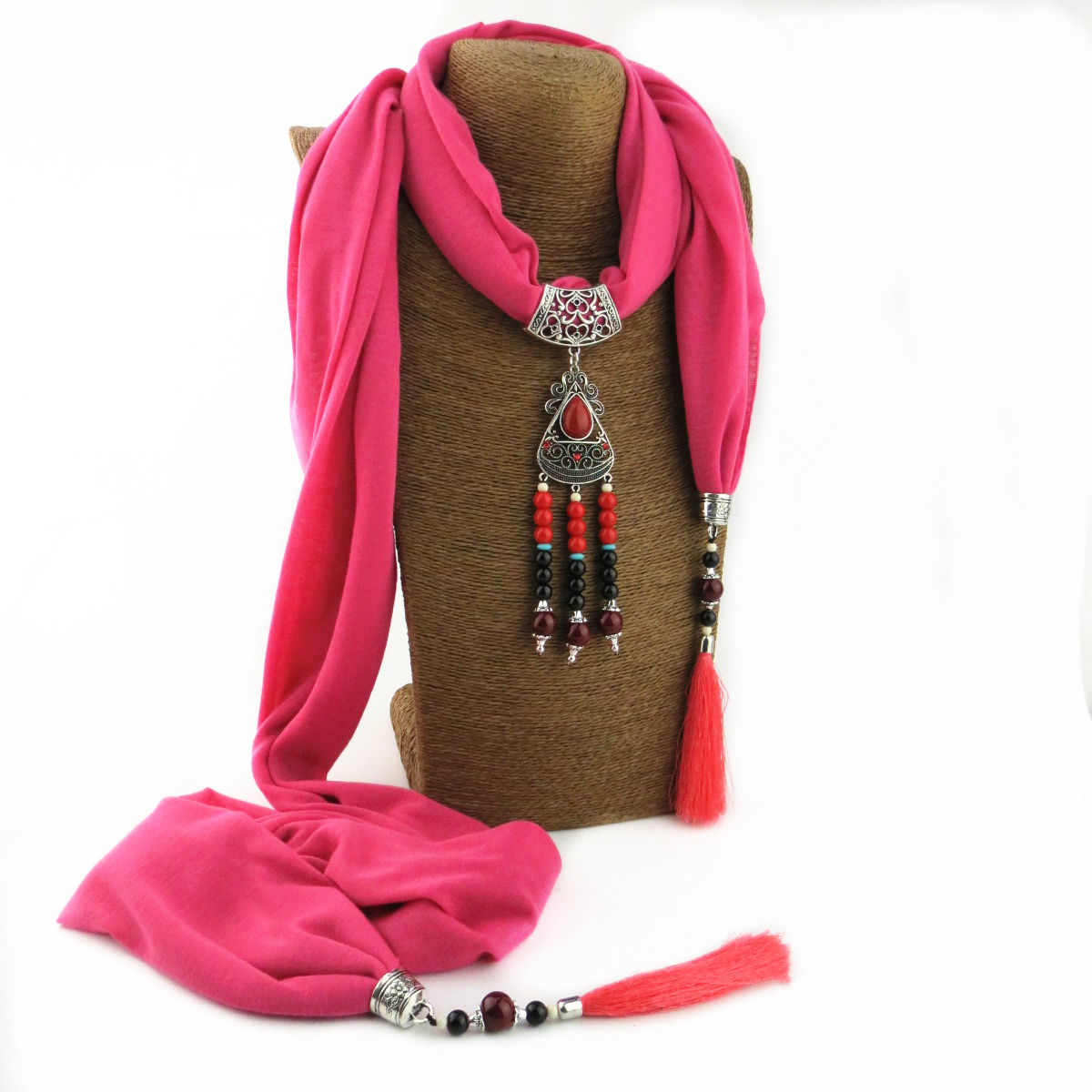 Women Indian Long Pendant jewelry Accessories Ladies pendant embellished jewelry crochet necklace scarf