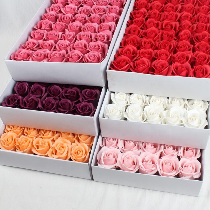 50pcs/box Artificial Flowers 3 Layer Rose Soap Flowers For Wedding, Party and Promotion Decoration