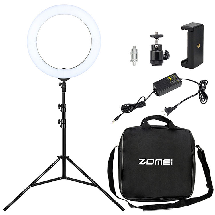 Photo/Studio/Phone/Video ProfessionalLED Ring light ZM-1801 18inch With Stand LED Lamp Ring Cheaper version