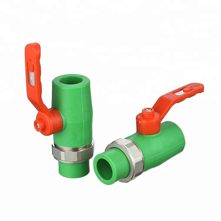 Goede Kwaliteit Ppr Valve Met Ppr Dubbele Unie 32Mm <span class=keywords><strong>Messing</strong></span> Lichaam <span class=keywords><strong>Messing</strong></span> Core Factory Prijs