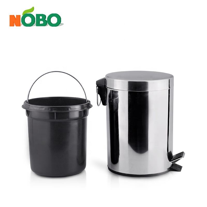 Kitchen Outdoor Recycling Pedal Dustbin Metal Trash Can Stainless Steel Garbage Waste Bin with Inner Bucket
