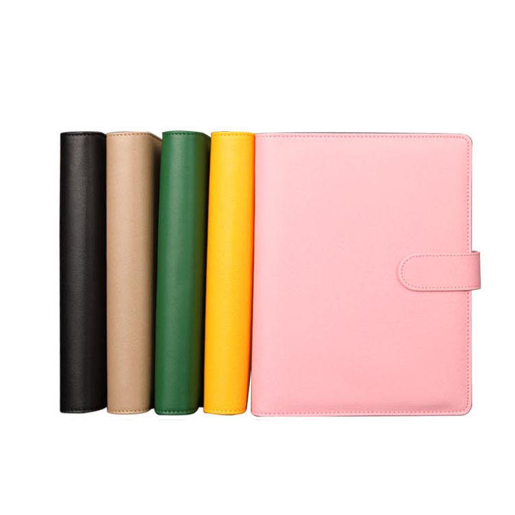 Smooth Leather Cover Studenten Dagboek Note Book Ringband Notepad Met Knop Lederen Notitieboek 6 Ringband