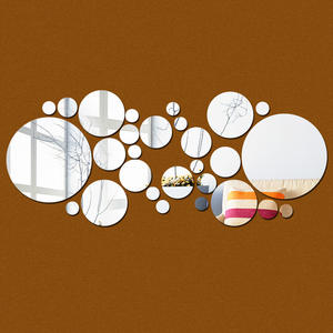 Clear DIY round mirror 3d room decor 3d wall stickers mirror sticker