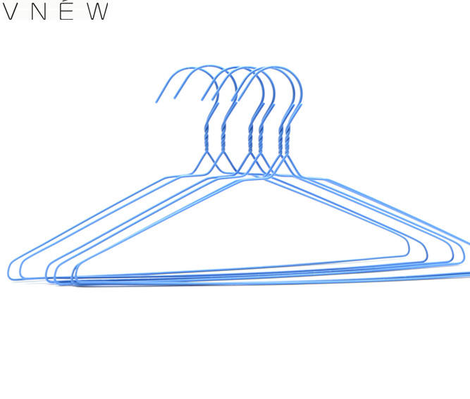 blue metal wire hanger for laundry