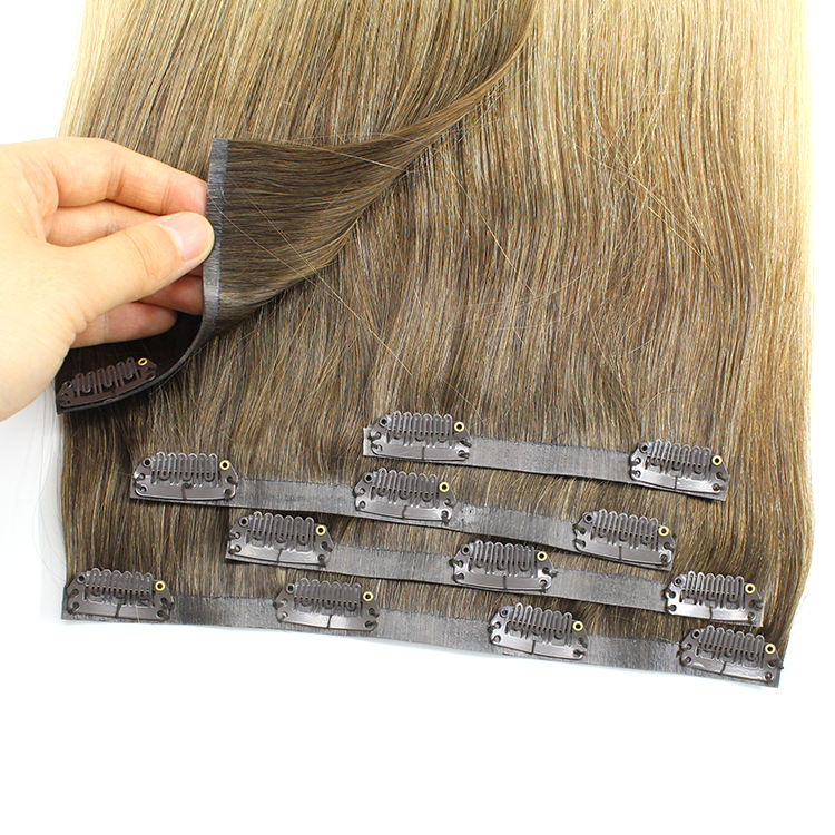 Balayage Double Drawn Virgin PU Clip In Haarverlenging Remy Haar Naadloze Clip In Hair Inslag