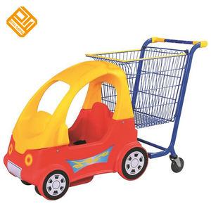 Supermarket Plastic Kids Shopping Trolley Cart with Toy Car