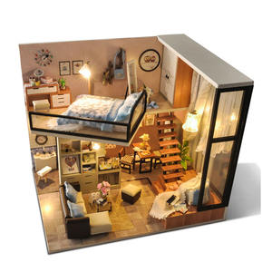 Buatan Tangan Double Floor Model Furniture Kit Miniatur Lampu LED Rumah Boneka Kayu DIY TYD2284
