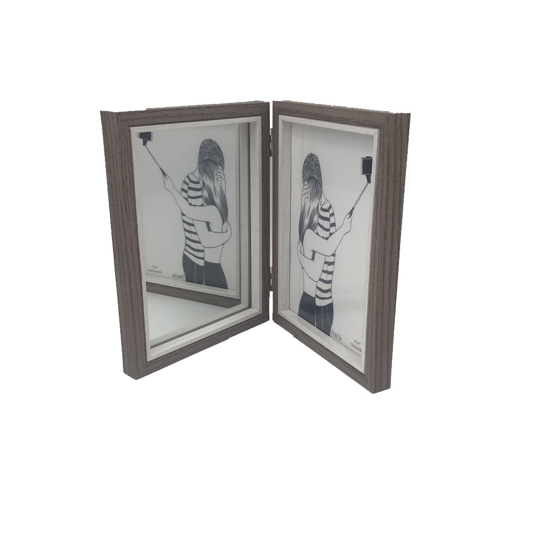 High quality wholesale cheap MDF Custom nature color 4x6 5X7 inch foldable double picture photo Frame with mirror