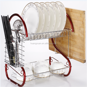 portable stocked 2-tier kitchen stainless dish rack in red