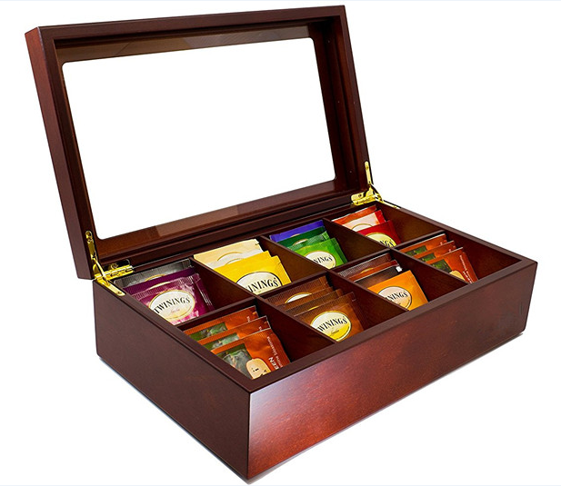 Wooden Tea Storage Chest Box with 8 Compartments and Glass Window