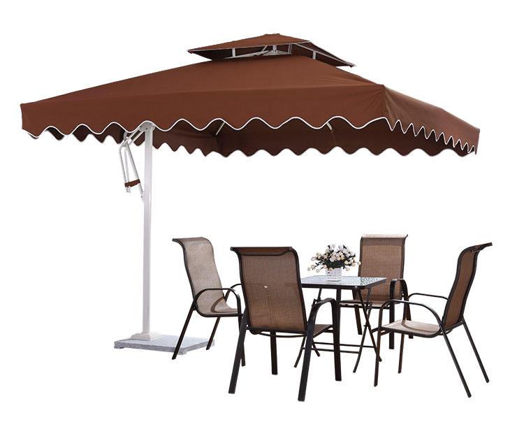 RATTAN STYLE Plastic Garden Parasol Base Umbrella Stand Sunshade Holder Brown