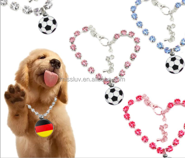 Shiny crystal ketting epoxy voetbal <span class=keywords><strong>vlag</strong></span> sport ketting hond katten ketting viering huisdieren kinderen ketting epoxy <span class=keywords><strong>vlag</strong></span>