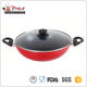 Factory supply Durable Aluminium big wok with two handles Eco-friendly and FDA SGS LFGB non stick cooking pan with glass lid