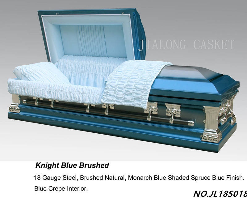 Knight Blue Brushed Metal Casket-Medical equipment funeral casket