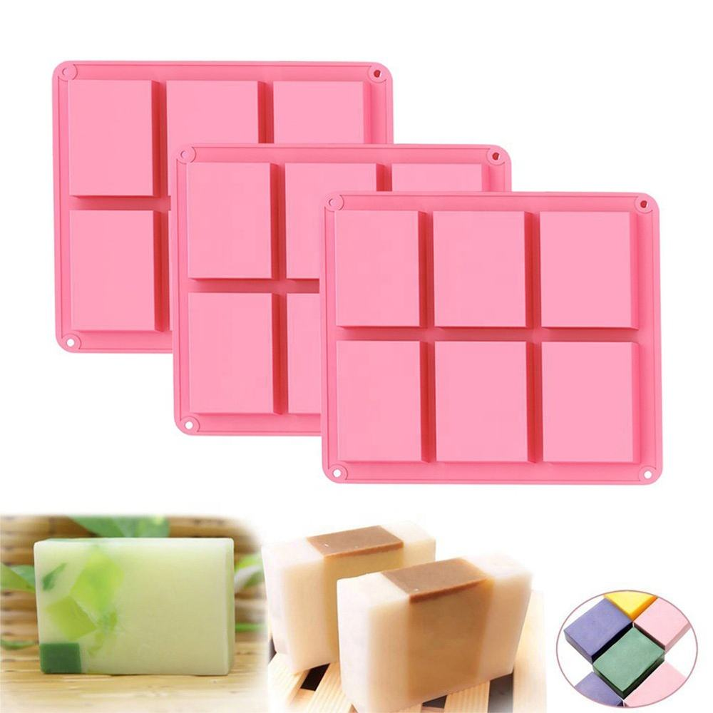 Set of 3 Pink Rectangle 6 Cavity Silicone Homemade DIY Soap Mold Cereal Bar Molds