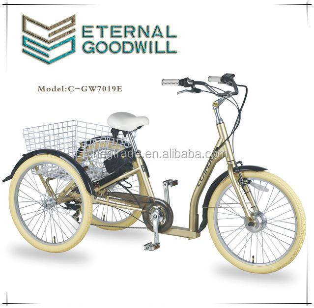 GW7019E NOVO 7 <span class=keywords><strong>velocidade</strong></span> 250 <span class=keywords><strong>W</strong></span> adlut triciclo elétrico com a cesta traseira