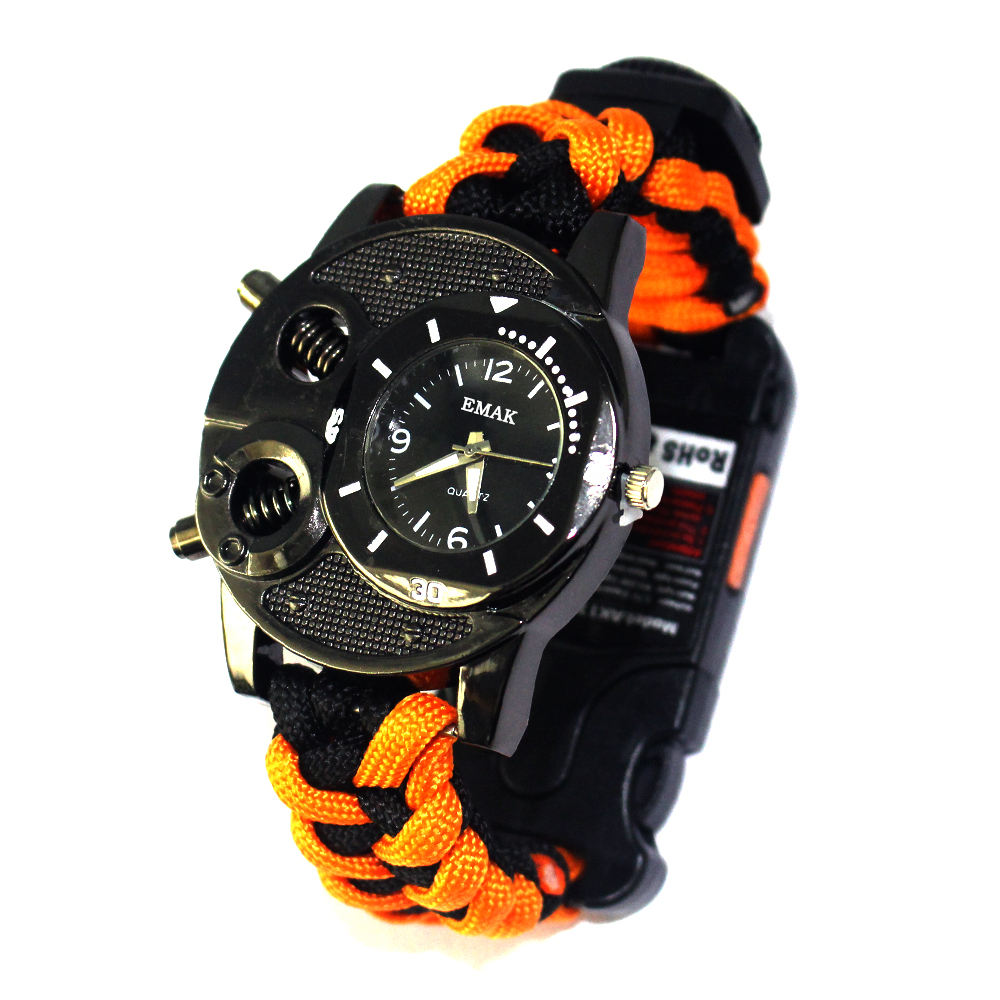 Army Adventure Field Survival Woven 550 Paracord Watch, Portable Camping Metal Tactical Accessories Survival Paracord Watch