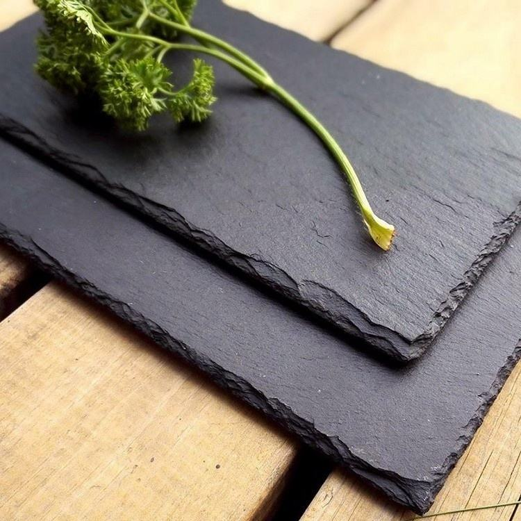 Cheap Wholesale Custom Package Round Square Rectangle Serving Plate Real Natural Black Slate Stone Dish for Pizza Barbecue
