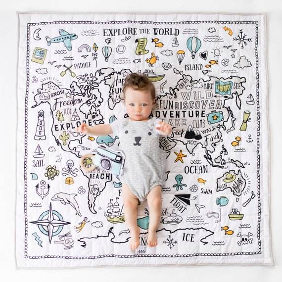 Hot Organic Cotton Safety Baby Activity Gym Mat For Kids World Map Rand McNally Classic World Map For kids bedroom decor