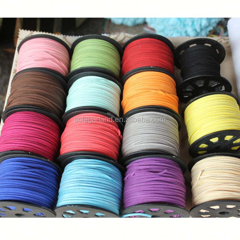 High Quality 2.6mm Flat Korean Suede Leather String Cord Thong for Jewelry DIY 100Yards/roll
